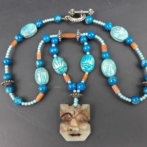 Artisan Handmade Stone Wolf / Bear Totem Necklace